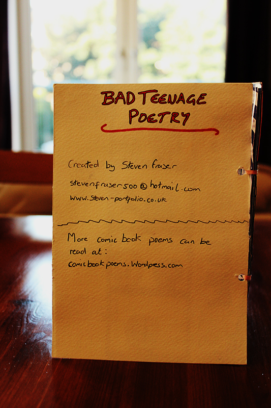 Poetry Book Back Cover ~ Bad teenage poetry comic book poems